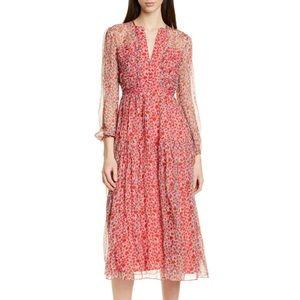 Saloni Yasmeen Floral Long Sleeve Silk Midi Dress